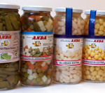 Various types of canned in glass jars